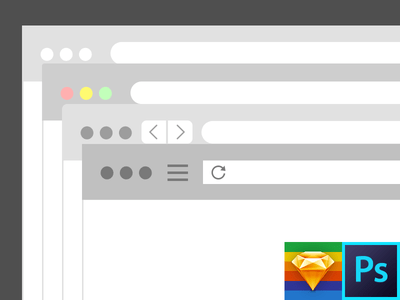 Browser Flat Kit Photoshop & Sketch Template