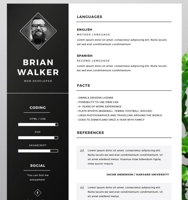 Free Resume Template For Word, Photoshop U0026 Illustrator