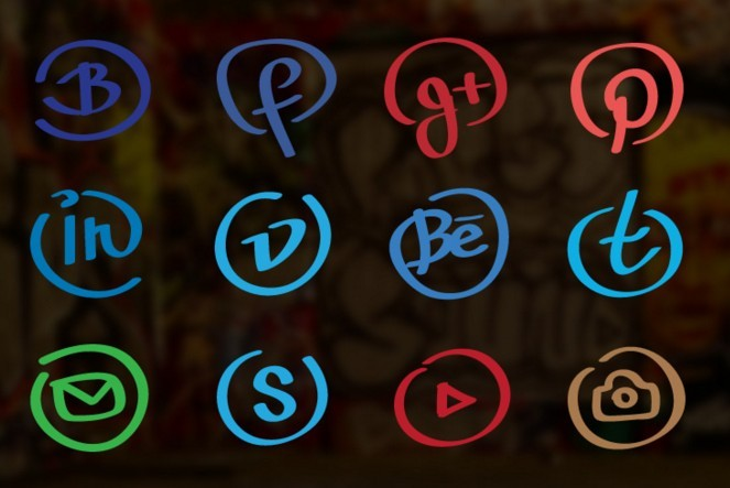 Hand drawn social icons pack