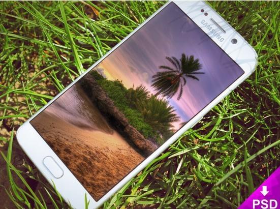 Samsung S6 Edge Grass Mockup