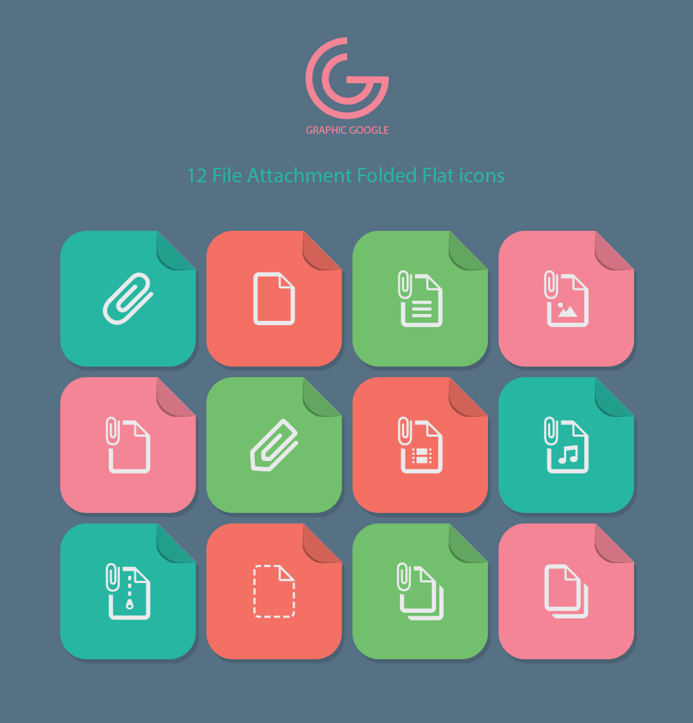 12 File Attachment Folded Flat icons