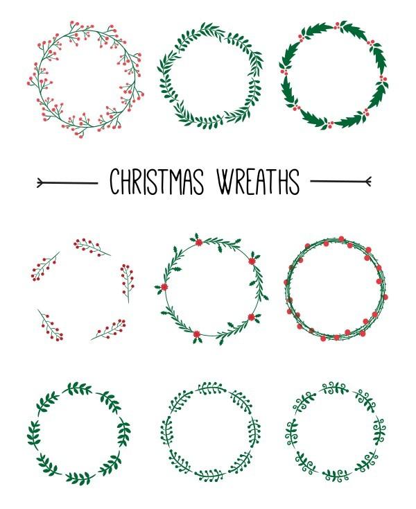 9 Vector Christmas Wreaths