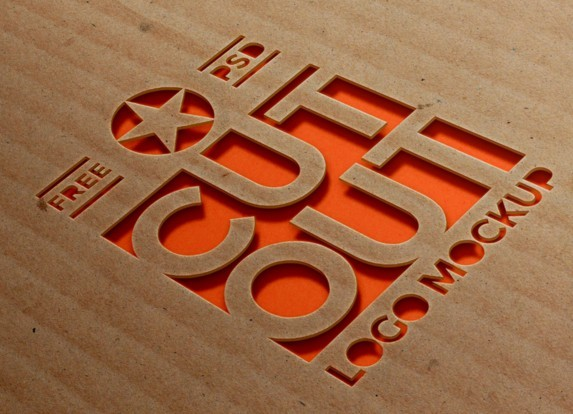 Cardboard Cutout Logo Mockup