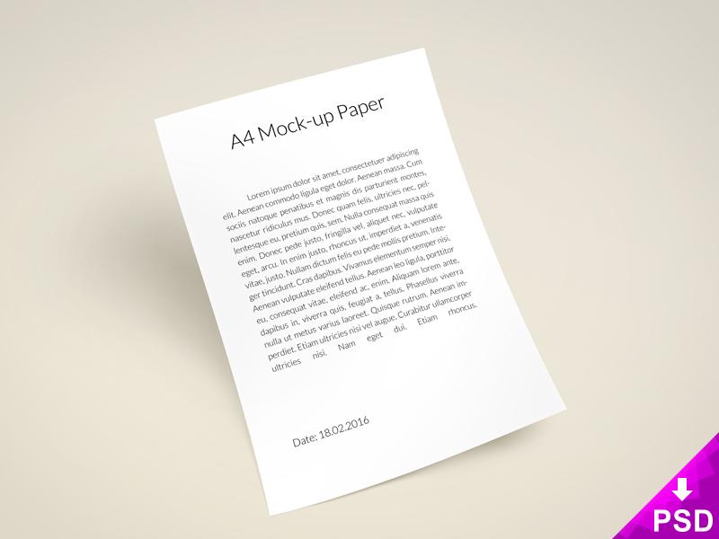 A4 Paper Mock-up