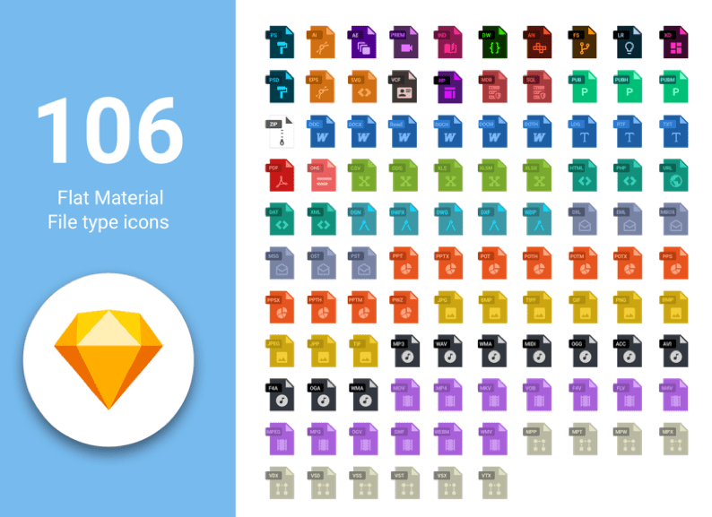106 Free Flat Material File Type Icons