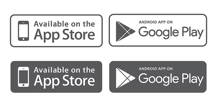 Free icons AppStore and Google Play