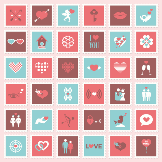 Valentine & Love Postage Stamp Icon Set