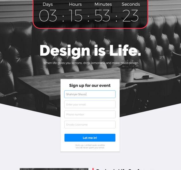 Evenire Lite - Event Landing Page