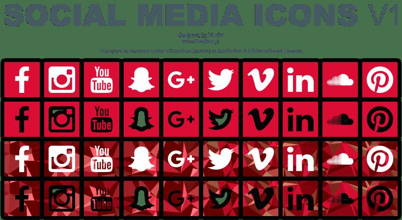 Social media vector icons set v1