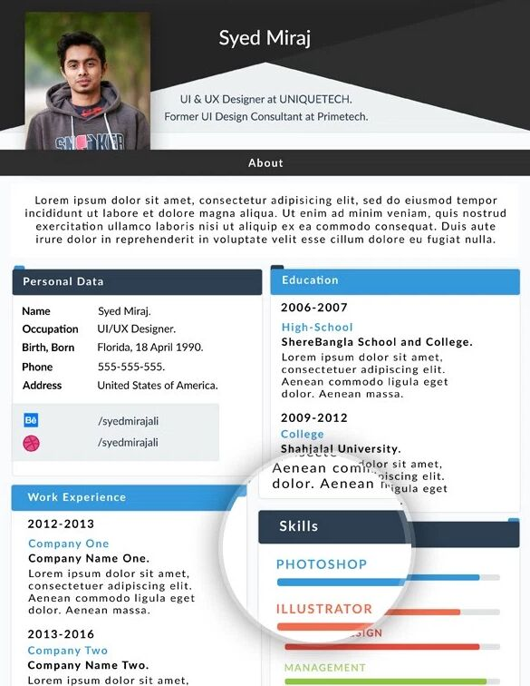 resume web template