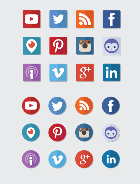iOS Inspired Social Icons
