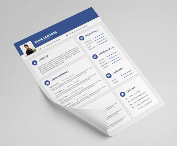 Material Style Resume CV (Freebie)