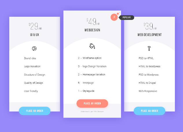 Pricing plan – Free PSD
