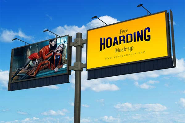 Free Frontlit Outdoor Advertising Hoarding Mock-up PSD