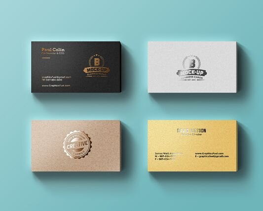 Foil Business Cards Mockup PSD