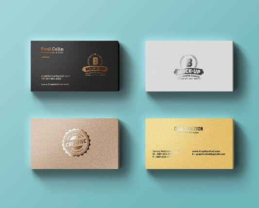 Foil Business Cards Mockup PSD