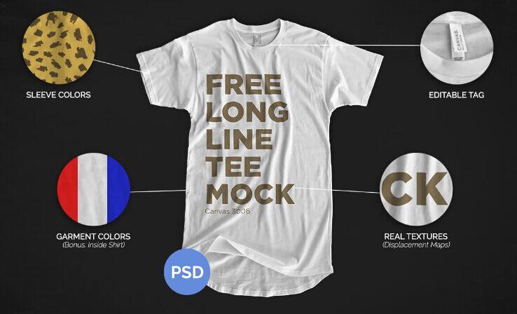 Free Longline T-Shirt Mockup 2016