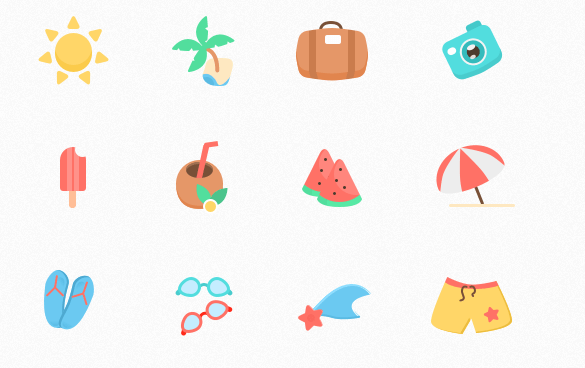 Free sketch icons - Enjoy Summer Vacation