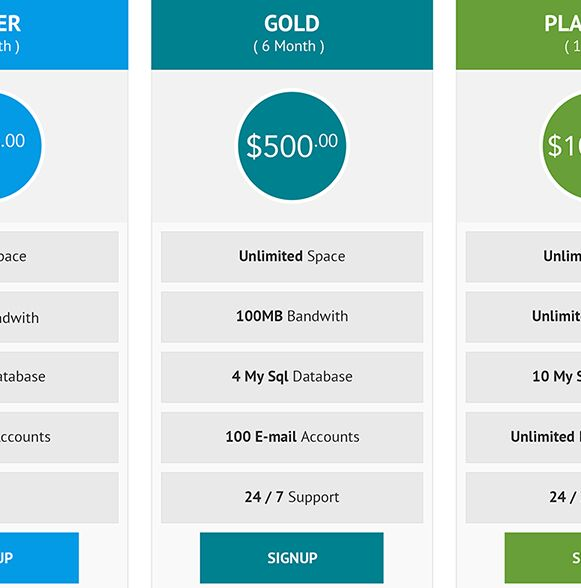 Free Pricing Tables PSD and Buttons