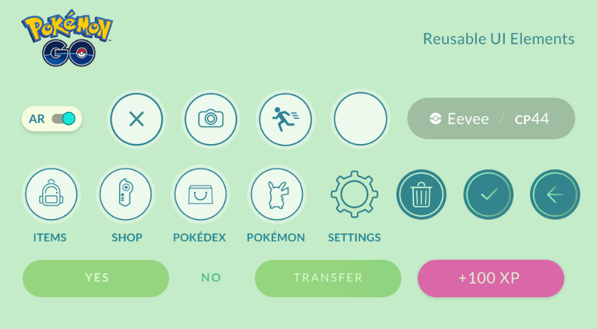 Pokemon Go Mobile UI Elements