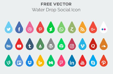 Water Drop Social Media Icon Pack