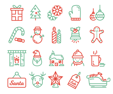 christmas-line-icons-free-vector