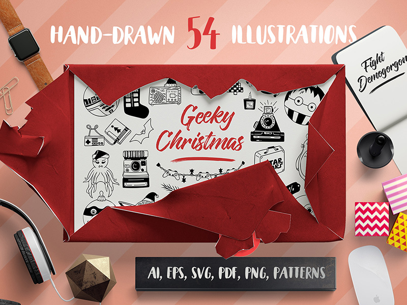 geeky-christmas-vector-set-patterns