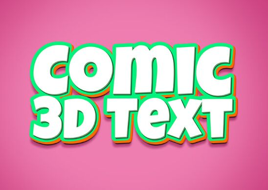 3D Comic Text Effect PSD