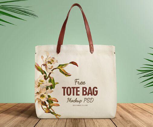 Free Organic Cotton Tote Shopping Bag Mockup PSD