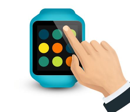 Hand touching smartwatch PSD template-min