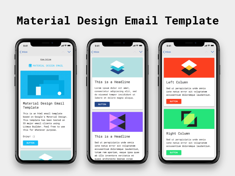 Material Design - Free HTML Email Template