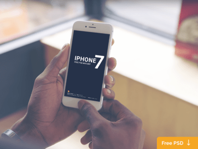 White iPhone 7 Holding in Hand Mockup