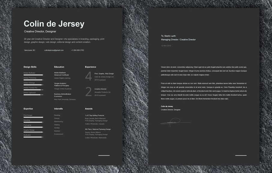 FREE Resume Cover Letter Templates For Illustrator