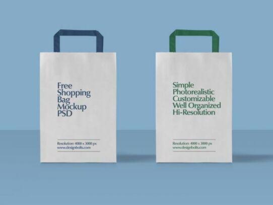 Free Paper Shopping Bag Mockup PSD