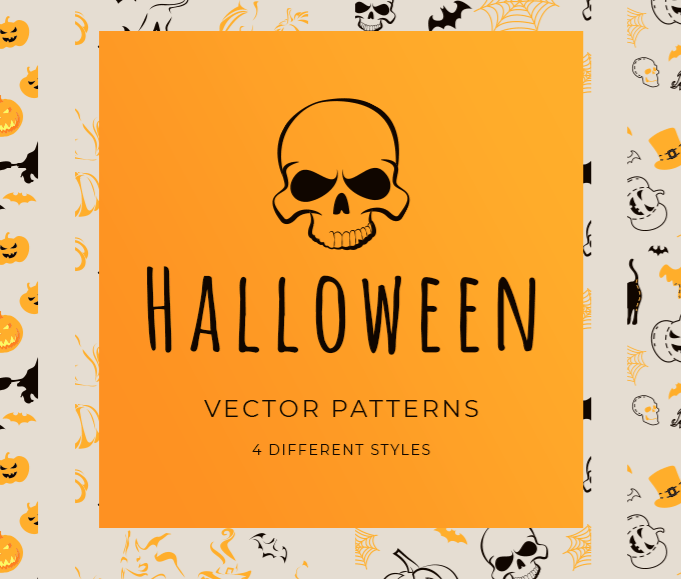 4 Vector Halloween Seamless Patterns