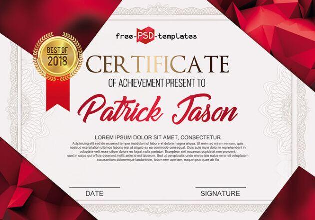 FREE CERTIFICATE TEMPLATE IN PSD  Best Certificate Templates