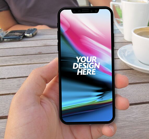 Free Outdoor Man Using iPhone X Mockup