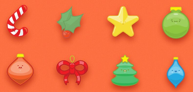 Free Set of 9 Happy Christmas Ornaments