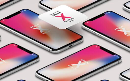 iPhone X PSD Mockup Isometric