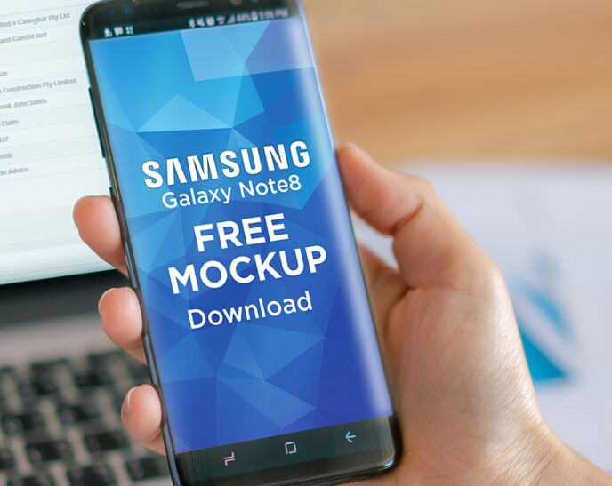 Samsung Galaxy Note8 Free PSD Mockup Download-min