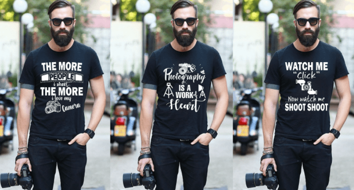 Photography T-Shirt Design Bundle & Free PSD Mockup