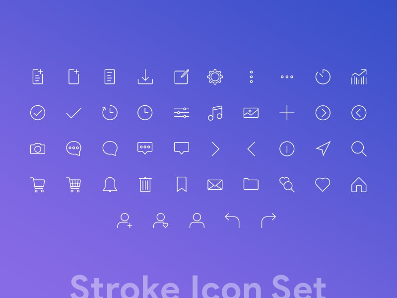 Clean custom stroke icons set for web-min