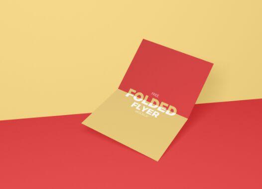 Free Centre Folded Flyer Mockup PSD