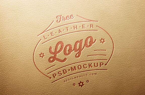 Free Leather Stamping Logo Mockup PSD-min