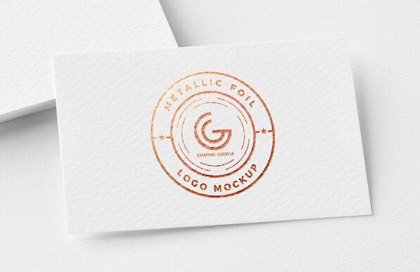 Free Metallic Foil Logo Mockup PSD-min