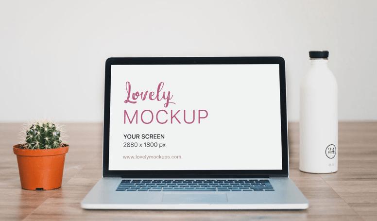 Macbook Mockup With Cactus on Wooden floor-min