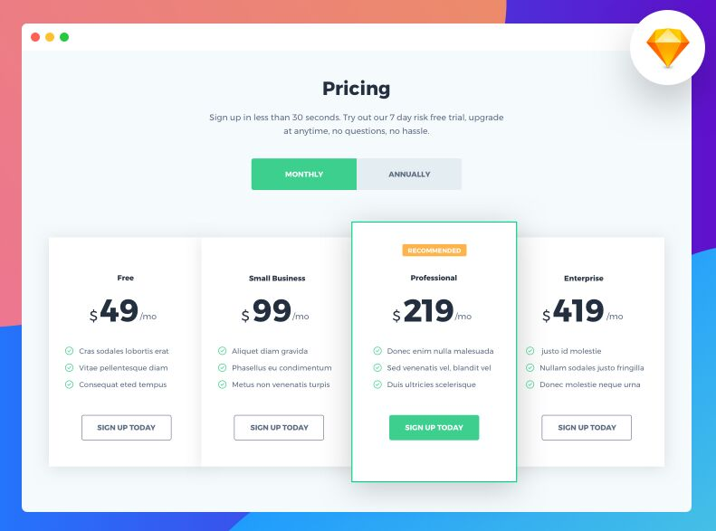 Pricing Page Template For Sketch