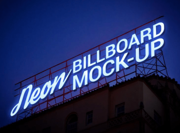 Electric Neon Sign Billboard Mockup PSD