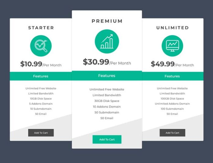 20 latest free html psd pricing table templates updated for 2018