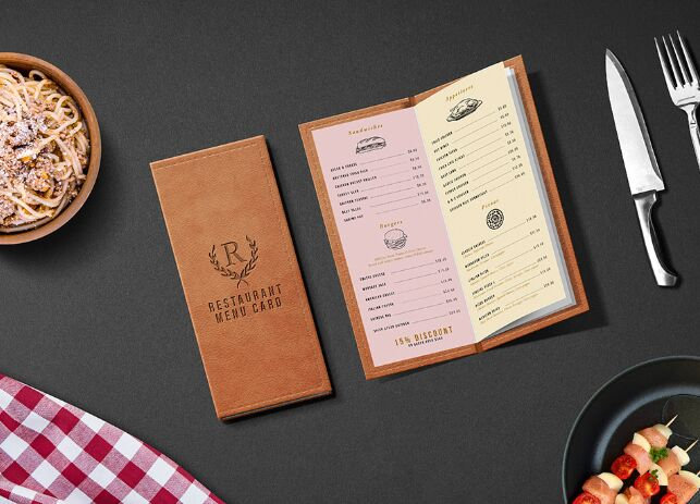 Restaurant Menu Card Mockup PSD-min